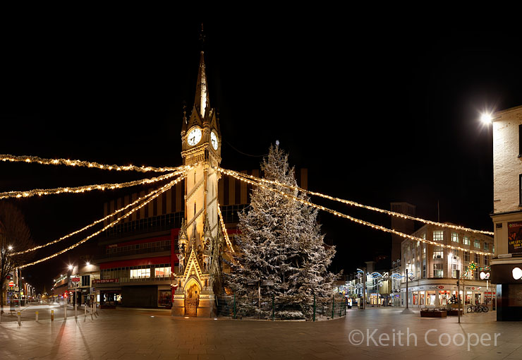 Leicester Clocktower at night with Christmas decorations and tree