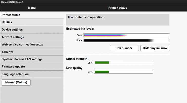 printer web page