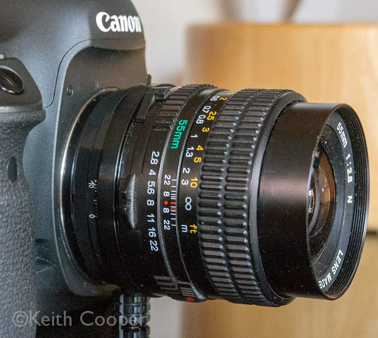 55mm lens and shift adapter