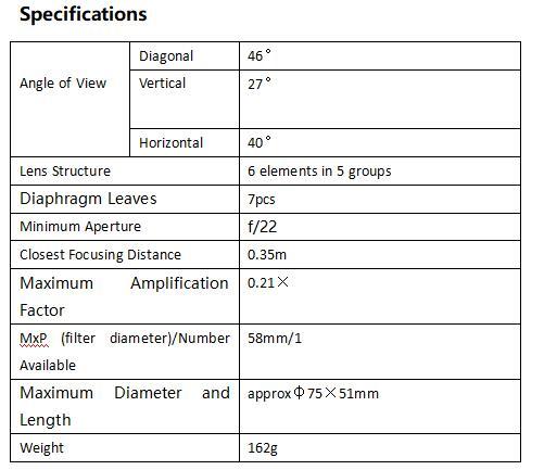 YN 50mmF1.8 mkII specs