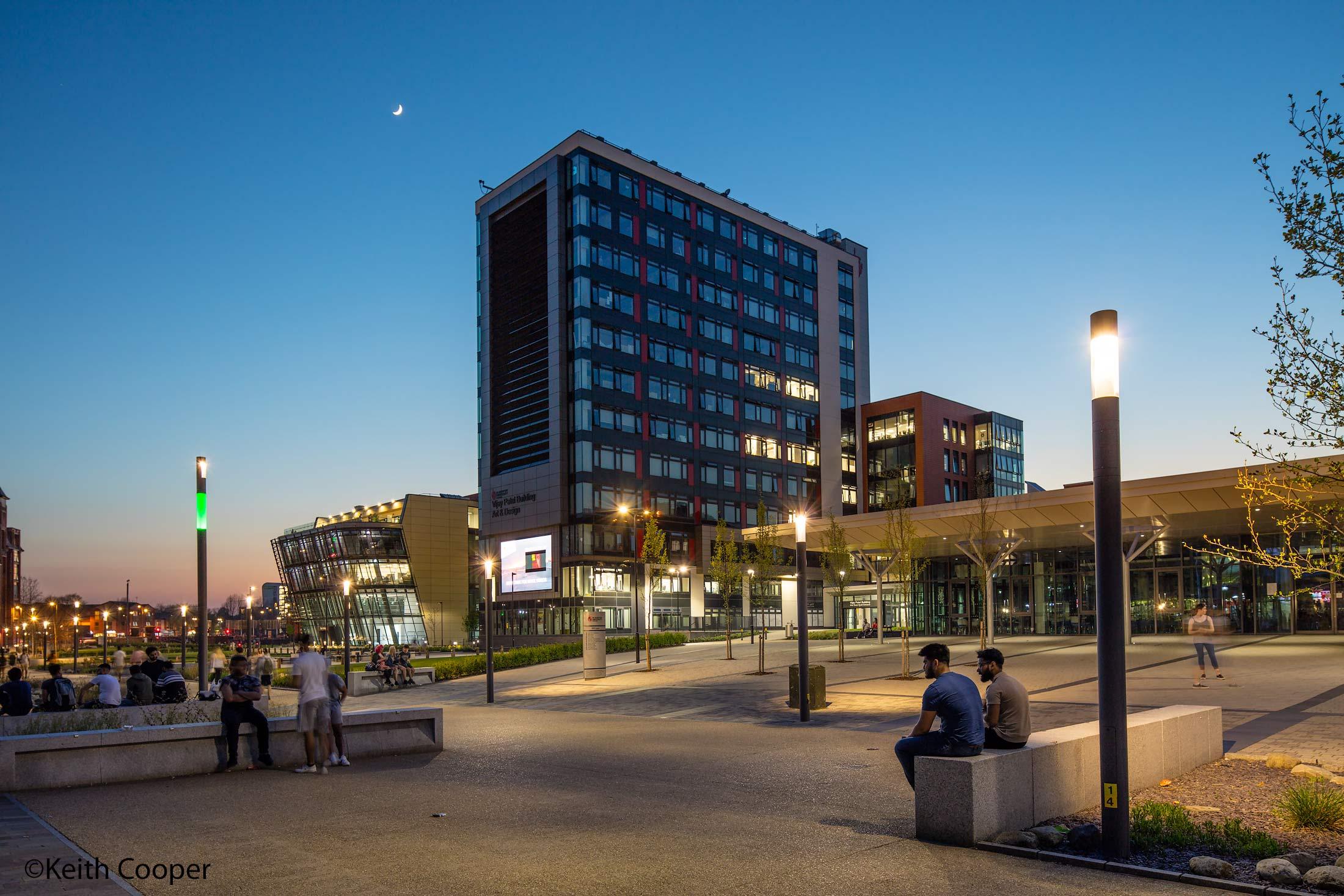 DMU campus dusk